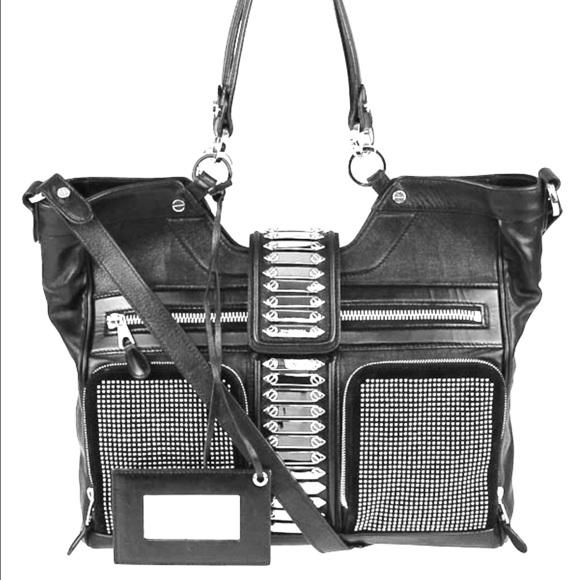 Balenciaga Handbags - Balenciaga Black Leather Studded Motorcycle Bag